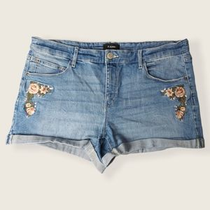 R Jeans Embroidered Denim Cuffed Jean Shorts 32